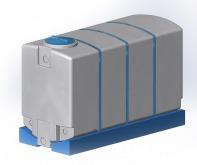 3750 л (с полным сливом) в обрешетке пластиковая прямоугольная емкость