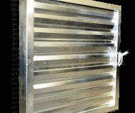 Решетка-клапан, заслонка под ручной или электропривод. Жалюзийная решетка большого размера может быть изготовлена из оцинкованной, нержавеющей сталей или алюминия. стандартный шаг ламелей 200 мм. может быть изготовлена 800х800, 1000х1000, 1200х1200, 1400х1400 или других размеров.