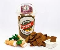 Сухарики ржано-пшеничные со вкусом холодца с хреном, форма чипс стакан 130 г + соус