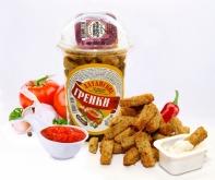 Сухарики ржано-пшеничные со вкусом аджики стакан 130 г + соус