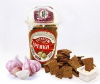 Сухарики ржано-пшеничные со вкусом чеснока, форма чипс стакан 130 г + соус