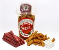 Сухарики ржано-пшеничные вкус охотничьи колбаски стакан 130 г + соус